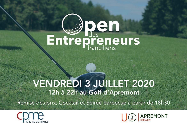 Le vendredi 3 juillet à partir de 12h au Golf d'Apremont se déroulera l'Open des Entrepreneurs Franciliens 2020, la 14ème édition du trophée de golf de la CPME Paris Ile-de-France.