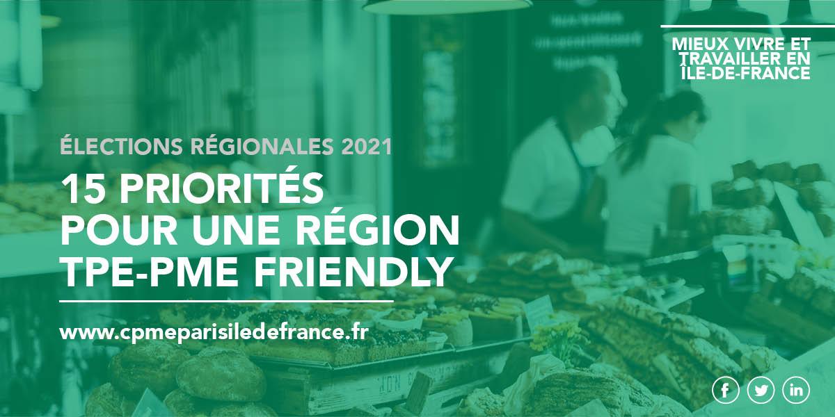 """15 priorités pour une région Île-de-France """"TPE-PME friendly"""""""